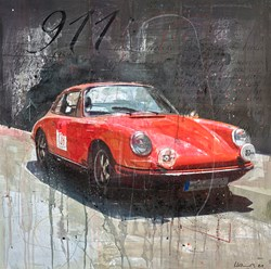 Vintage Porsche by Markus Haub - Original Painting on Box Canvas sized 32x32 inches. Available from Whitewall Galleries